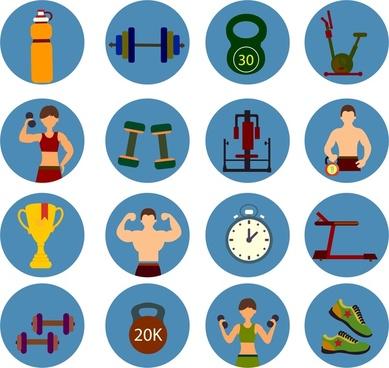 fitness symbols sets design in color flat style