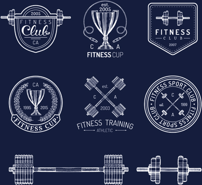 fitness training label with logotype vector set