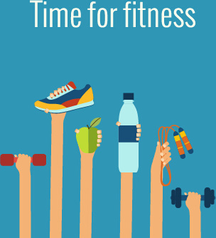 fitness with hands flat vector template