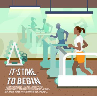 fitness woman design vector template
