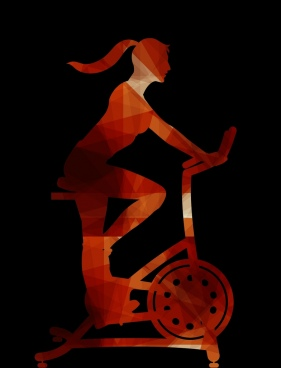fitness woman riding activity dark low poly ornament