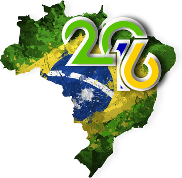 flag and map of olympic brazil 2016