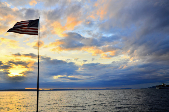 flag and sunset