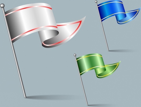 flag icons sets 3d shiny waving objects