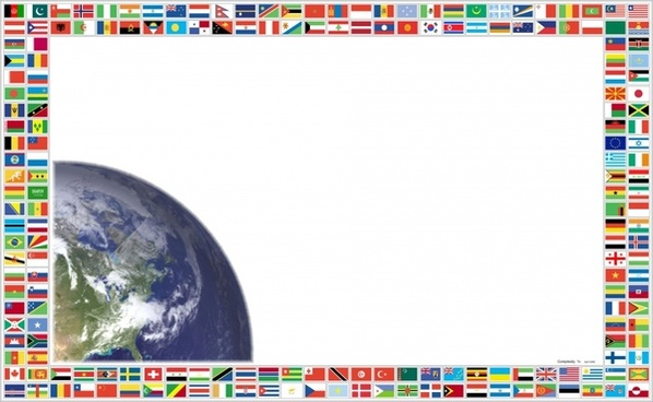 flags and planet earth