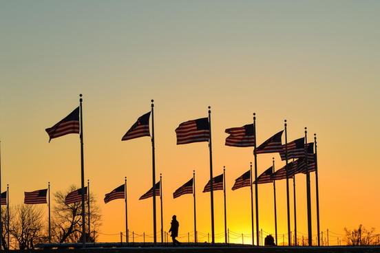 flags and sunset