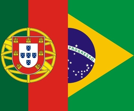 Flags Of Brazil And Portugal clip art