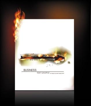 flame burning paper effect 02 vector