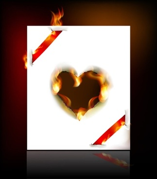 flame burning paper effect 05 vector