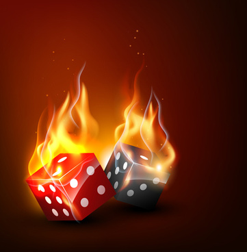 flame elements casino cards vector graphics