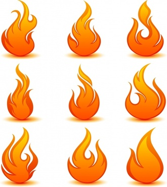 flame fire vector icons