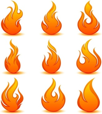 flame icon 04 vector