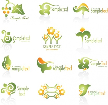 nature logo templates flat green orange decor
