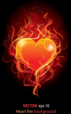 love background sparkling red heart burning fire sketch