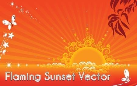 flaming sunset background orange curves and rays design