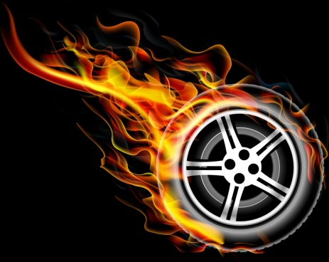 flaming tyre background dark design style
