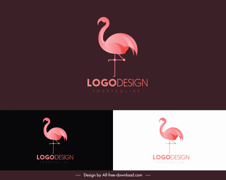 flamingo bird logo template pink flat design