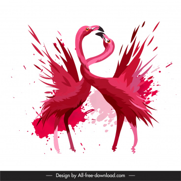 flamingo birds painting dynamic grungy design