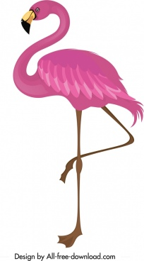 flamingo icon pink sketch cartoon design