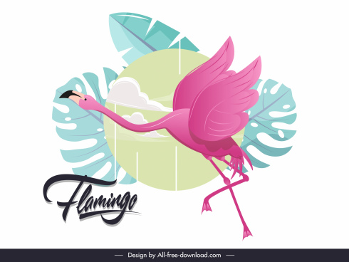 flamingo painting classic colorful flat sketch
