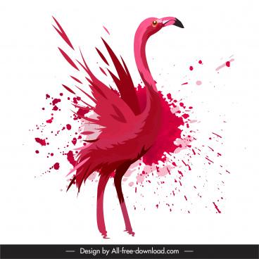 flamingo painting dynamic red grunge design