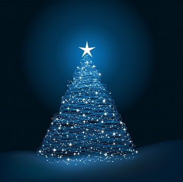christmas background sparkling decorated fir tree sketch