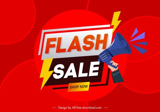 flash sale banner megaphone thunderbolts decor