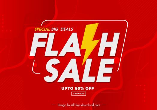 flash sale banner modern red white thunderbolt symbols