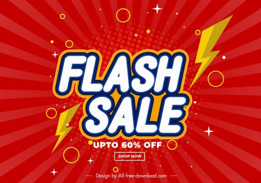 flash sale banner modern thunderbolt sketch
