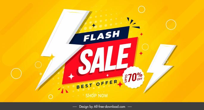 flash sale banner template bright design lightning decor
