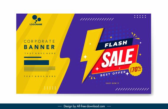 flash sale banner template colorful flat decor