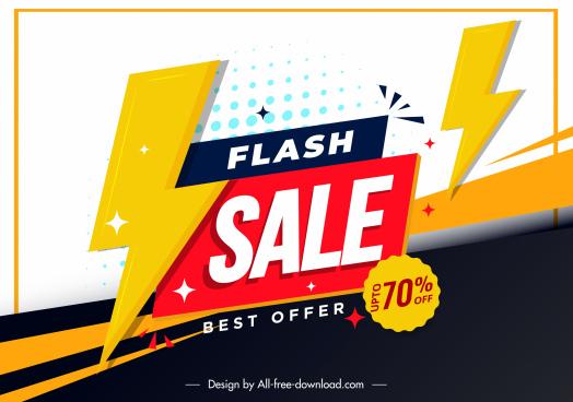 flash sale banner template sparkling thunder bolts decor