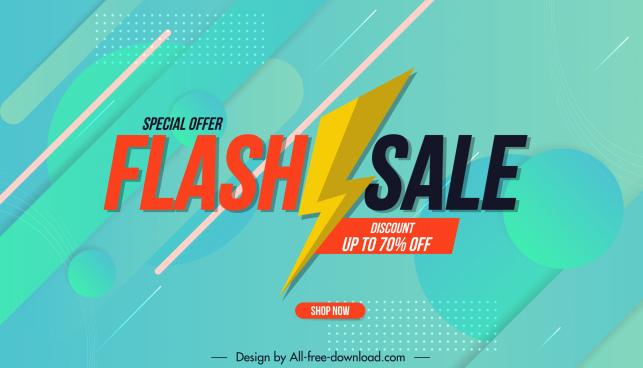 flash sale poster modern bright decor thunderbolt sketch
