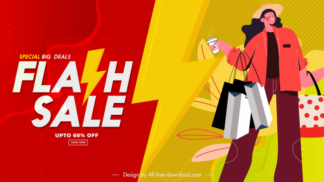 flash sale poster shopper sketch cartoon character