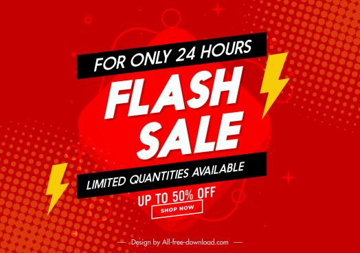flash sale poster template elegant red thunderbolts decor