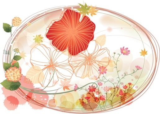 flowers background red floral sketch and curves design