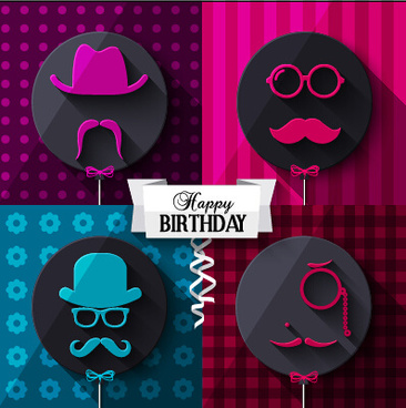 flat balloon with happy birthday background vector