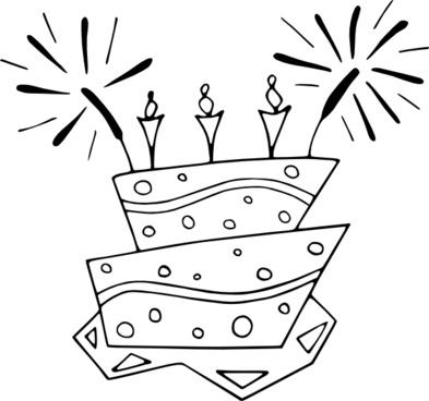 Flat_cake_bw clip art