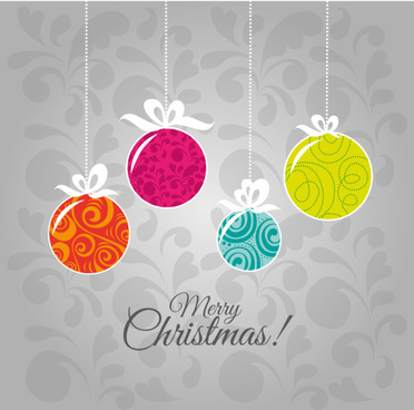 flat christmas baubles art background vector