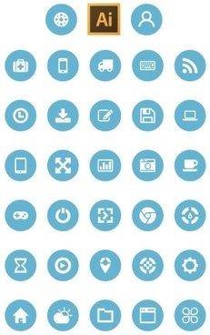 flat circular web icons set