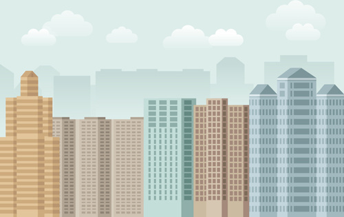 flat city building vector