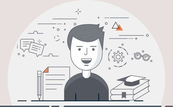 flat education vector