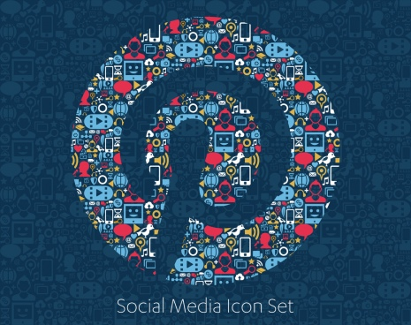 flat icons technology social media network computer concept abstract background with objects group of elements star smile face sale share like comment vector illustration twitter youtube whatsapp snapchat facebook instagram