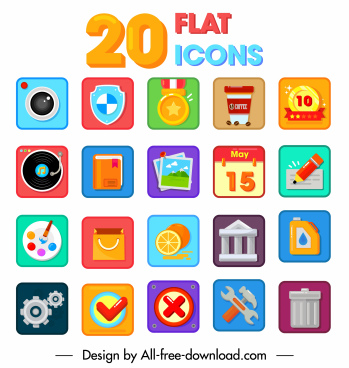 flat icons templates modern colorful symbols decor
