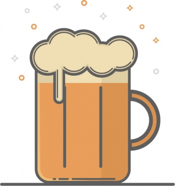 flat line beer mug icon