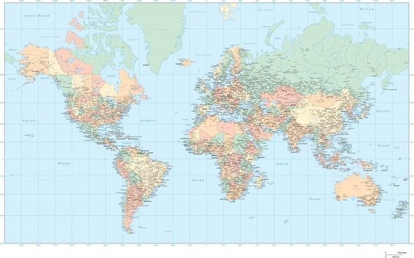 world map drawing colored flat design