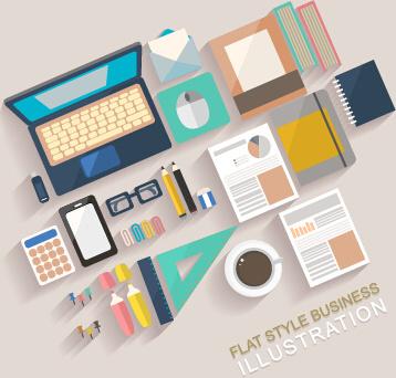 flat office business template vector