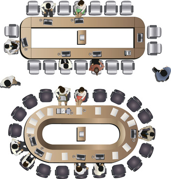 flat office meeting template vector design