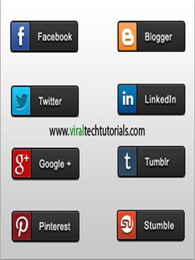 flat popular social share buttons