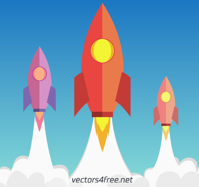 flat rocket flying up vector illustration